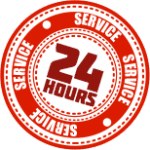 24 hour service sticker.