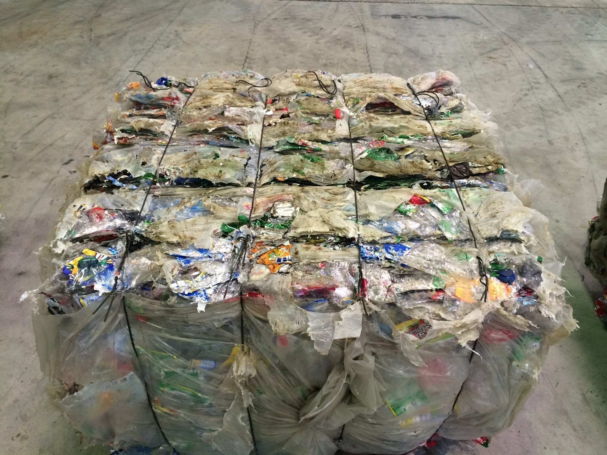 baled trash.